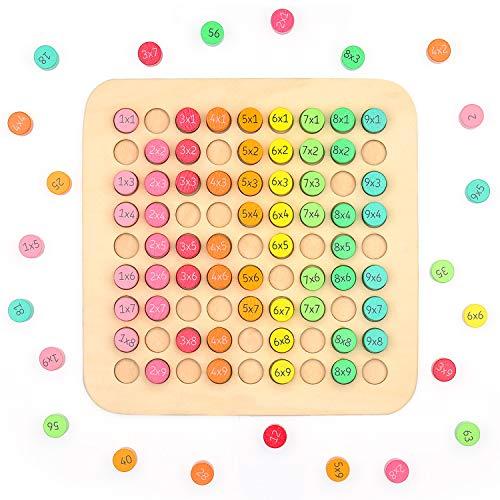 EKKONG 9 x 9 Holz Einmaleins Mathematik, Multiplikationstabelle für Kinder, Montessori Mathematik Spielzeug, Holzblöcke Spielzeug, Pädagogische Holzspielzeug für Jungen und Mädchen