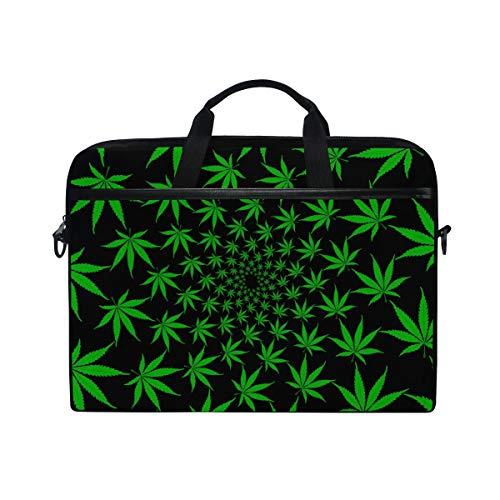 DOSHINE Laptop Bag Case Sleeve Hemp Marijuana Leaves Green Notebook Computer Bag for 14-14.5 inch Adjustable Shoulder Strap, Back to School Gifts for Men Women Boy Girls