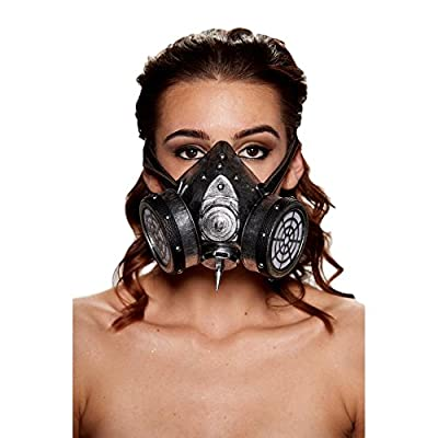 Steampunk Faux Leather Gas Mask with Central Spike and Studded Binding (Silver)