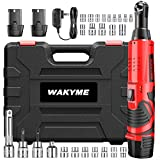 WAKYME Electric Ratchet Tool Set, 12.6V Cordless Wrench Kit with 2 Packs 2000mAh Battery, 3/8'' Variable Speed Cordless Electric Ratchet Wrench, Power Ratchet Tools with 25 Pcs Accessories