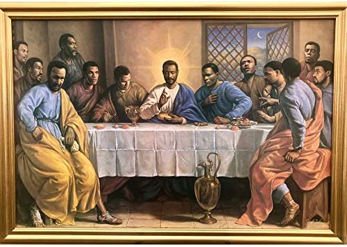 African American The Last Supper Jesus Christ Wall Art Decor Framed Poster 25x31 Premium Canvas product image
