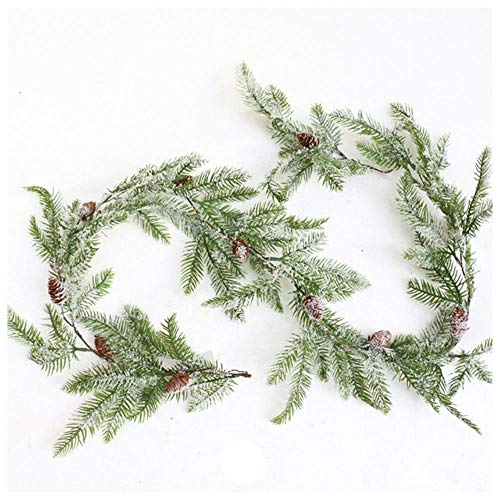 FEWIHIWEAS 170CM Artificial Pine Cones Vine Christmas Decorative Snowflake Pine Branches Green Garland Leaves Wall Decor For Wedding-Type B