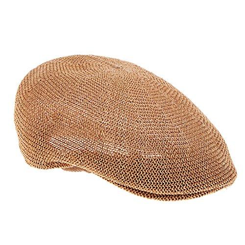 MagiDeal Damen Herren Stroh Schlägermütze Golfermütze Schiebermütze Sportcap Sommerhut Newsboy Hat Flat Cap - Khaki, 58 cm