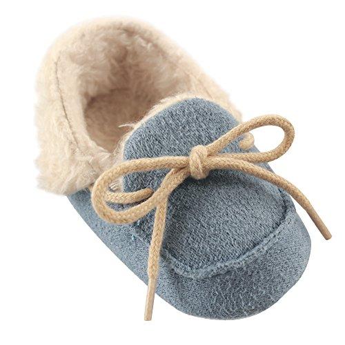 Luvable Friends Unisex Baby Moccasin Shoes, Blue, 6-12 Months