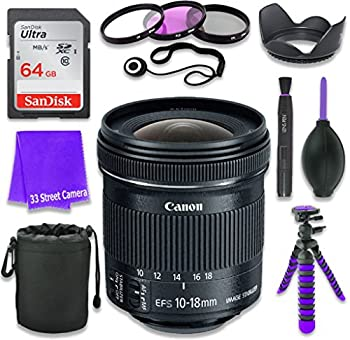 Canon EF-S 10-18mm f/4.5-5.6 is STM Lens for Canon DSLR Cameras & SanDisk 64GB Class 10 Memory Card + Complete Accessory Kit  11 Items