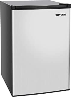 ROVSUN 3.0 CU.FT Upright Freezer with Reversible Stainless Steel Single Door, 2 Removable Shelves (3.0 cu.ft.)