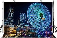 HD 10x7ft観覧車の背景観覧車市夜の写真撮影の背景とスタジオ写真撮影の背景小道具LYNAN301