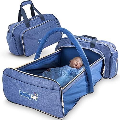 BabyAll tragbare Bio Wickeltasche mit eingebautem Baby Bett - großräumig & perfekt für den Alltag - aus 100% Bio-Baumwolle - die Allround-Babytasche für junge Eltern - vielseitig nutzbar