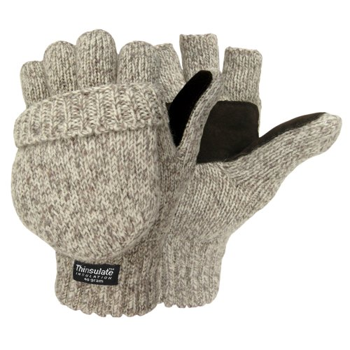 HOT SHOT Men's Wool Gloves/Mittens, Oatmeal