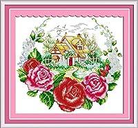 クロスステッチ刺繍キット 図柄印刷 初心者 ホームの装飾 刺繍糸 針 布 11CT Cross Stitch ホームの装飾 ローズ 40x50cm