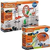 2er Set Action & Reaction Maxi-Set Kugelbahn mit Trampolin Bausatz ab 6 Jahren Spielzeug Kinder Kettenreaktionen Kugeln Bahn Experimentieren erweiterbar verschiedene Bahnmodelle Bauteile Set Looping
