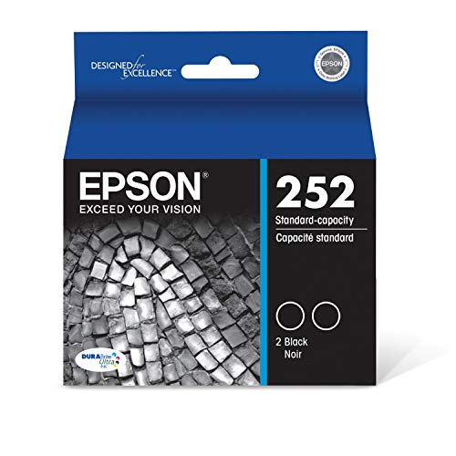 EPSON T252 DURABrite Ultra Ink Standard Capacity Black Dual Cartridge Pack (T252120-D2) for select Epson WorkForce Printers