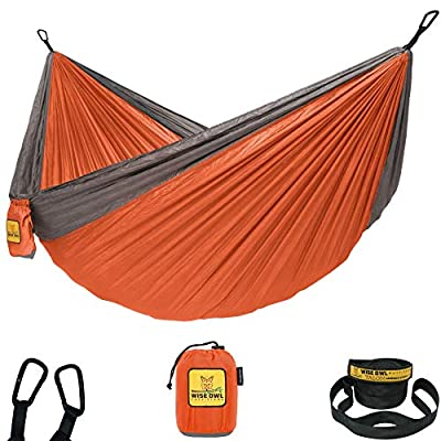 Wise Owl Outfitters Hammock for Camping Single & Double Hammocks Gear for The Outdoors Backpacking Survival or Travel - Portable Lightweight Parachute Nylon SO Orange & Grey from Wise Owl Outfitters