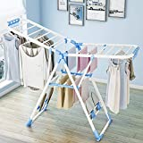 Aereador expandible, Estante de lavandería plegable, Blanzo/Azul, Tamaño desplegado: 138 x 95 x 56 cm