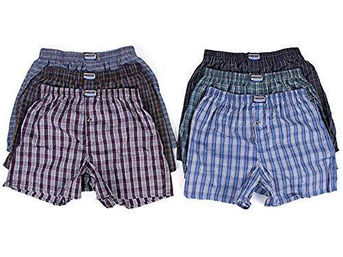 6 Men Plaid Boxer Shorts Underwear (Medium)