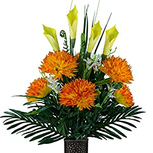 Sympathy Silks Artificial Cemetery Flowers – Realistic – Outdoor Grave Decorations – Non-Bleed Colors, and Easy Fit – Orange Fuji Mum with Yellow Calla Lily – with Flower Holder