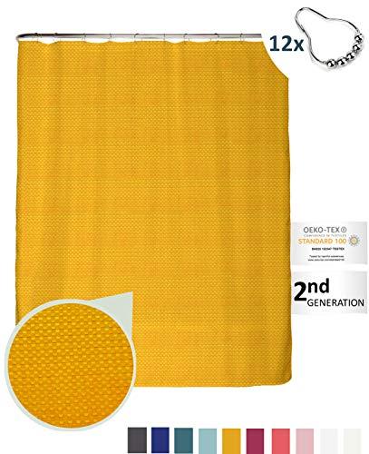 arteneur® - Gold Gelb - Premium Duschvorhang 180x200 inkl. 12 Edelstahl-Ringe – Anti-Schimmel Struktur-Stoff, Beschwerter Saum, Blickdicht, Wasserabweisend, Waschbar und inkl. E-Book