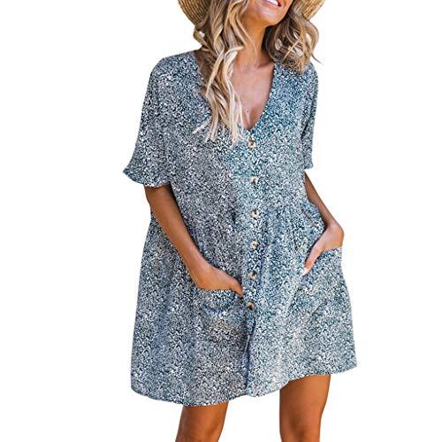 Great Price! Uscharm Womens Sleeveless Shirts V Neck Short Sleeve Dress Floral Print Casual Dresses ...