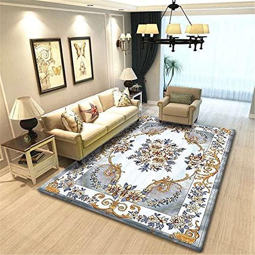 CCTYJ Dorado Gris Retro patrón étnico Arte Simple sofá Dormitorio Sala de Estar Sala de Estar de la Cama Alfombra-40x60cm Estar Alfombra para Decoración Interior Diseño para Sala De Estar