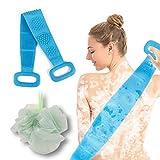 Cepillo cuerpo silicona y Esponjas de baño 2 EN 1,KarDition Cepillo espalda ducha[Cepillo suave y masaje de superficie convexa redonda] [Fácil de exfoliar]limpiar y mejorar las hemorroides de espalda