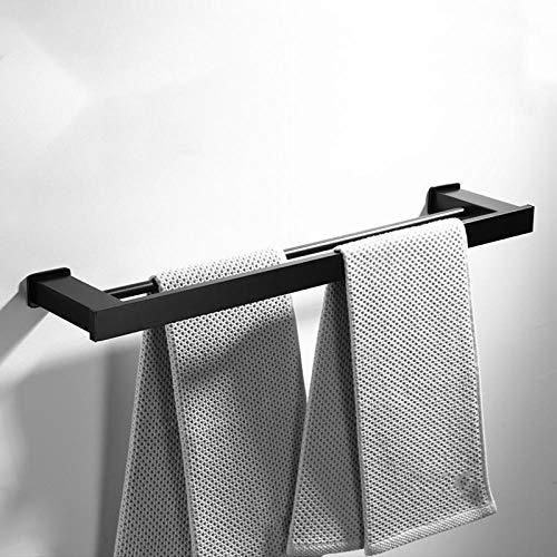 Baño Bañera Toalla Racks Colgando Toalla Rodilla Belleza Espacio Belleza Aluminio Negro Toalla Rack Tubo doble Polar-40 cm