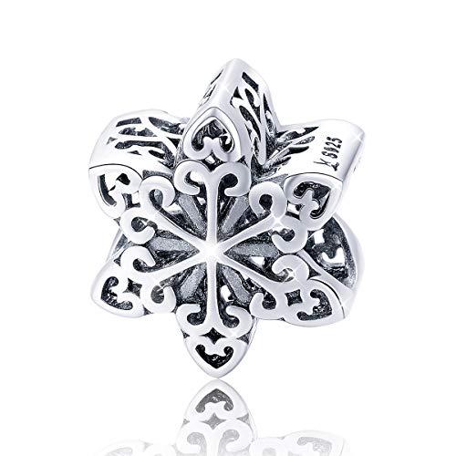 Fiocco di neve Charm Ciondolo in Argento per Donne Ragazze Bracciale collana Regali Natale