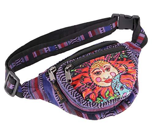 Guru-Shop Praktische Gürteltasche, Ethno Bauchtasche Sidebag - la Luna Violett, Herren/Damen, Baumwolle, Size:One Size, 15x20 cm, Festival- Bauchtasche Hippie
