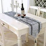 HeMiaor Camino de mesa con lentejuelas y brillantes, color gris plateado y...