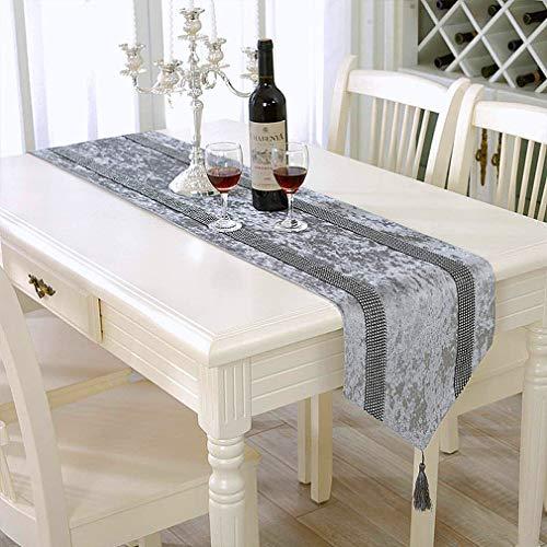 HeMiaor Camino de mesa con lentejuelas y brillantes, color gris, terciopelo aplastado para decoración de mesa de comedor de Navidad (33 x 213 cm)