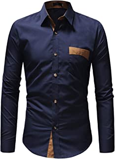 XWLY Men's Shirt Slim Fit Long Sleeve Comfortable Casual Fashionable Elegant Men Shirt Spring and Autumn Light Vacation Le...