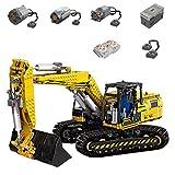 Bulokeliner Bloques de construcción para excavadora motorizada, Mould King 13112, 1830 + piezas 2,4 G 4 CH RC excavadora bloques de montaje modelo con motores, compatible con Lego Technic