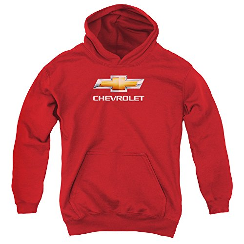 Chevrolet Chevy Bowtie Stacked Unisex Youth Pull-Over Hoodie for Boys and Girls, Large Red