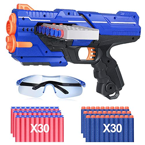 Holiky Toy Guns with 12 Continuous Shooting Dart Barrels for Boys for Nerf Guns Bullets, with 60 PCS Refill Darts and 1 Protective Glasses for 3-10 Year Old Boys(Blue)