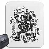 Reifen-Markt Mousepad (Mauspad) Roboter AUF INLINER BIOMECHANIC Robot Android IOS DISCOROLLER Rollschuhe Robots für ihren Laptop, Notebook oder Internet PC (mit Windows Linux usw.) in Weiß