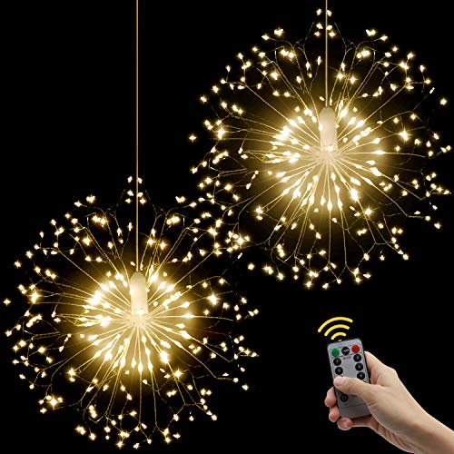 LED String Lights, Starburst Firework Light 8 Modes Dimmable with Remote Control, Battery Operated Hanging Fairy Lights with 198 LED, Decorative Wire Lights for Christmas (Warm White-2 Pack)