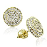 Iced Out CZ Stud Earrings For Women Men Screw-back 14k Gold Plated Cubist Geometric Round Stud Earrings Cubic Zirconia Micro-pave Ear Studs for Girl Boy Guy Hypoallergenic Non-nickel Hop Jewelry
