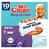 Mr. Clean Magic Eraser, Bathroom and Shower Cleaner with Febreze Lavender Scent, Cleaning Pads with Durafoam, 10 Count