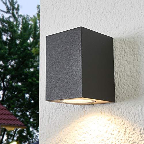 Lámpara de pared exterior 'Xava' (Moderno) en Negro hecho de Aluminio (1 llama, GU10, A++) de Lucande | lámparas de pared para exterior aplique, lámpara LED para exterior, aplique para pared