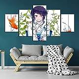 HHXXTTXS My Hero Academia Anime 5 Pieza Cuadro En Lienzo —Impresión en Lienzo Picture Artworks Arte Pared Habitación Dormitorio Moderno Decorativo 150 x 80 CM(Marco)