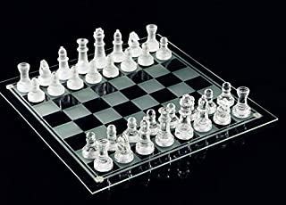e5e10 Fine Glass Chess Game Set, Solid Glass Chess Pieces and Crystal Mirror Chess Board 10 x 10 inches for Youth Adults Gift
