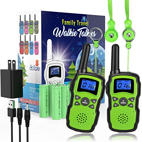 Wishouse 2 Rechargeable Walkie Talkies for Kids with Charger Battery, Two Way Radio Family Talkabout for Adult Cruise Ship Long Range, Outdoor Camping Hiking Fun Toy Birthday Gift for Girls Boys Green