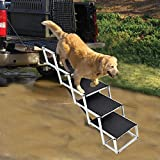 Portable Dog Stairs for Large Dogs, Foldable Aluminum Lightweight Pet Ramps,Accordion Pet Ladder Dog Car Steps with Non-slip Surface for High Beds, Trucks, Cars and SUV, Supports up to 150 lbs,5 Steps