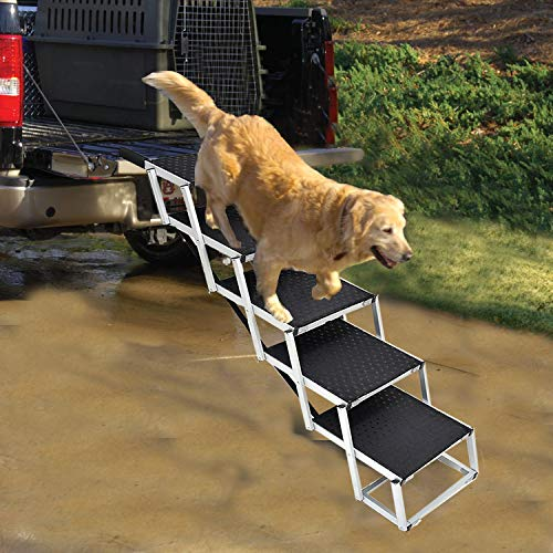 Portable Dog Stairs for Large Dogs, Foldable Aluminum Lightweight Pet Ramps,Accordion Pet Ladder Dog Car Steps with Non-slip Surface for High Beds, Trucks, Cars and SUV, Supports 150-200 lbs,5 Steps