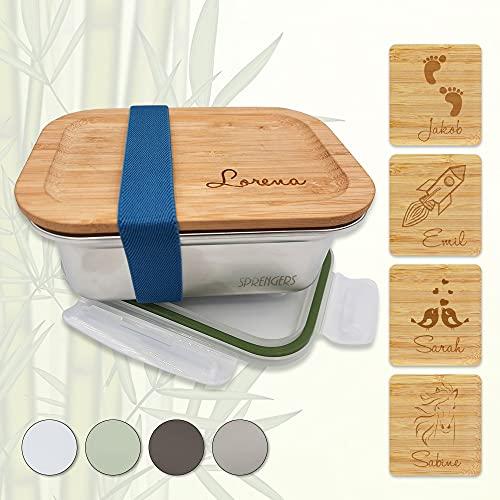 sprengers Fiambrera personalizada de acero inoxidable, tapa de bambú, antigoteo, color plateado, 800 ml