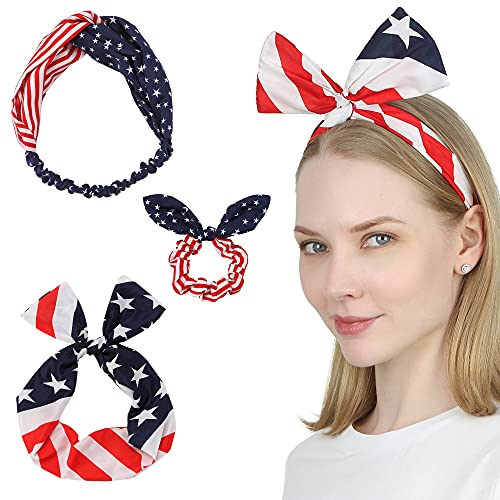 Sea Team 3-Pack of the Stars and Stripes Retro Wire Headbands Stylish Chiffon Bowknot Twist Bunny Ears Head Wrap Bandeau Hair Ribbon Star-Spangled Banner American Flag Hairbands for Women and Girls