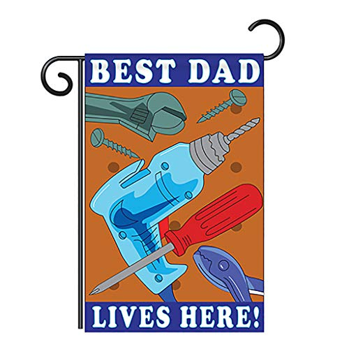 Two Group Best Dad Garden Flag Family Father's Day Daddy Papa Grandpa Parent Sibling Relatives Grandparent House Decoration Banner Small Yard Gift Double-Sided, 13'x 18.5', Imported 13 X 18.5