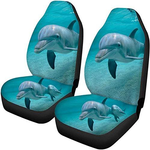 2 PCS Adorable Pareja Dolphin Ocean Animal Print Cat Asiento delantero Accesorio...