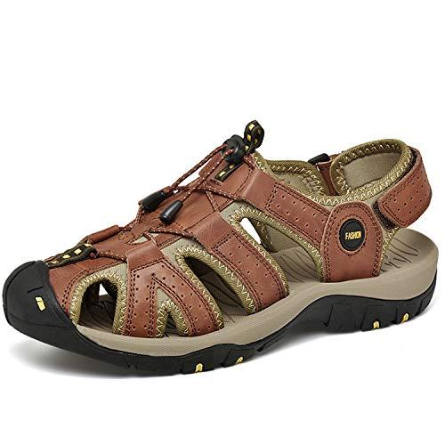 JOYVIP Mens Hook-loop Fisherman Beach Shoes Leather Flat Roman Gladiator Sandal with...