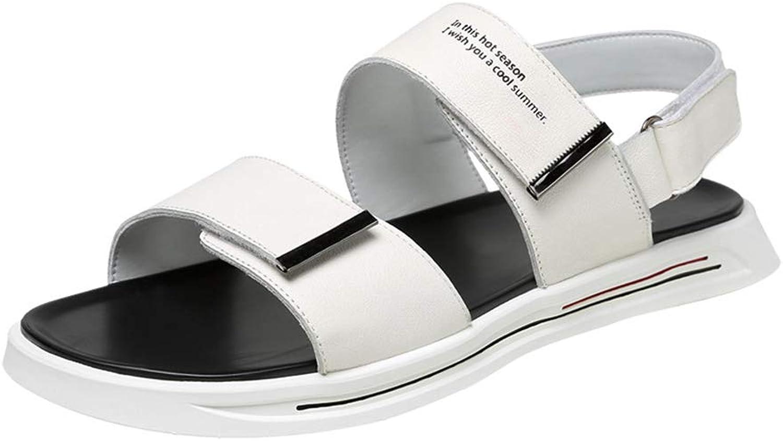 Men's PU One Word Sandals Convenient Velcro Non-Slip Slippers Cozy Open Toe Office Travel Wear Resistant Beach shoes