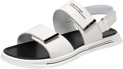 WHL.LL Pour des hommes PU Un mot Des sandales Pratique Velcro Antidérapant Chaussons Confortable Bout ouvert Bureau Voyage Résistant à l'usure Chaussures de plage